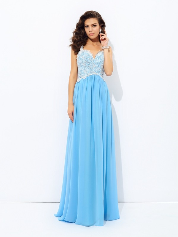 A-Line/Princess V-neck Sleeveless Floor-Length Chiffon Dresses with Lace