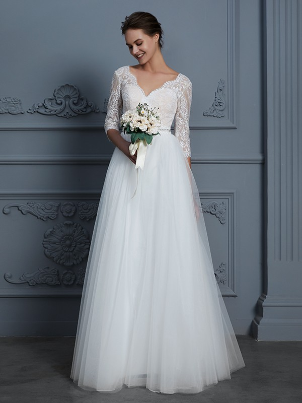 A-Line/Princess V-neck 3/4 Sleeves Floor-Length Tulle Wedding Dresses with Lace