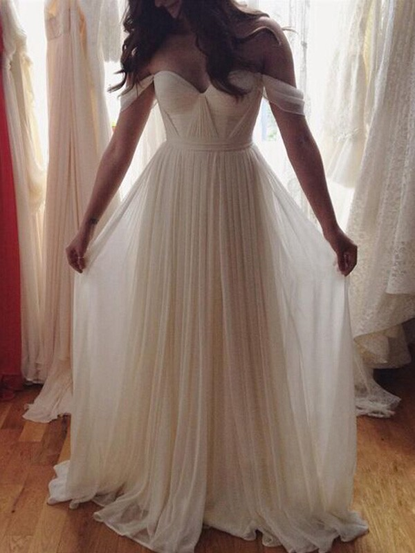 A-Line/Princess Off-the-Shoulder Sleeveless Floor-Length Chiffon Dresses with Beading