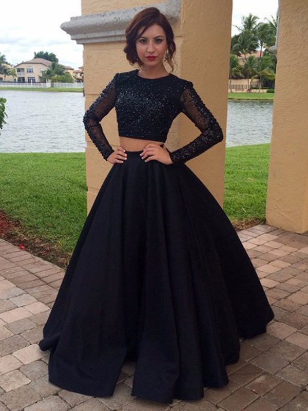 Ball Gown Scoop Long Sleeves Floor-Length Satin Dresses with Beading