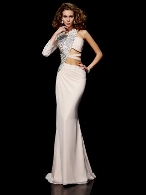 Sheath/Column One-Shoulder Sleeveless Sweep/Brush Train Chiffon Dresses with Beading Ruffles