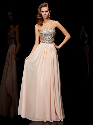 A-Line/Princess Sweetheart Sleeveless Floor-Length Chiffon Dresses with Rhinestone