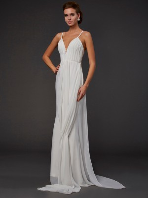 Trumpet/Mermaid V-neck Sleeveless Floor-Length Chiffon Dresses with Ruffles