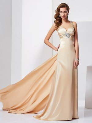 Sheath/Column Halter Sleeveless Sweep/Brush Train Silk like Satin Dresses with Ruffles