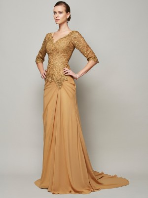 Sheath/Column V-neck 1/2 Sleeves Floor-Length Chiffon Dresses with Lace
