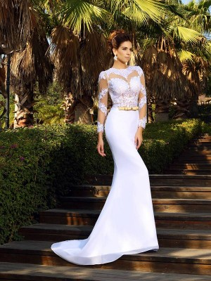 Sheath/Column Scoop Long Sleeves Court Train Satin Wedding Dresses with Applique