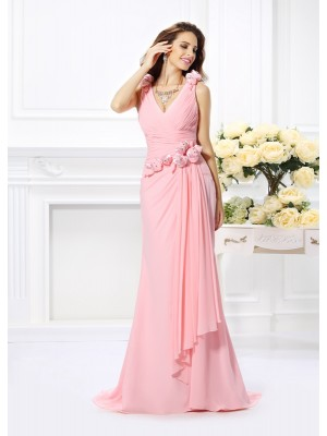 Trumpet/Mermaid V-neck Sleeveless Sweep/Brush Train Chiffon Bridesmaid Dresses with Hand-Made Flower
