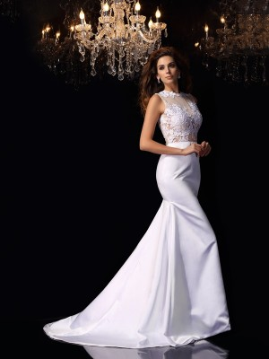 Trumpet/Mermaid High Neck Sleeveless Chapel Train Satin Wedding Dresses with Applique