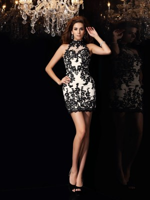 Sheath/Column High Neck Sleeveless Short/Mini Chiffon Dresses with Beading Applique
