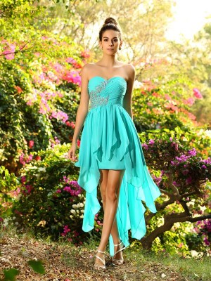 A-Line/Princess Sweetheart Sleeveless Asymmetrical Chiffon Bridesmaid Dresses with Beading