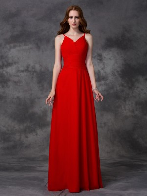 A-Line/Princess Spaghetti Straps Sleeveless Floor-Length Chiffon Bridesmaid Dresses with Ruffles