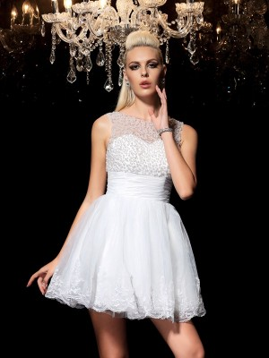 A-Line/Princess Sheer Neck Sleeveless Short/Mini Elastic Woven Satin Dresses with Beading