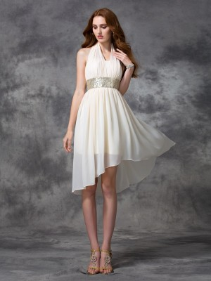 A-Line/Princess Halter Sleeveless Asymmetrical Chiffon Dresses with Sequin