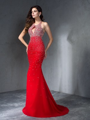 Trumpet/Mermaid Halter Sleeveless Sweep/Brush Train Chiffon Dresses with Beading
