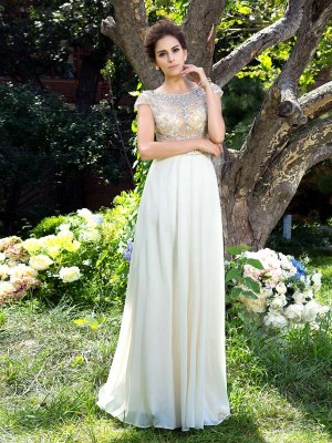 A-Line/Princess Sheer Neck Short Sleeves Sweep/Brush Train Chiffon Dresses with Rhinestone