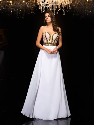 A-Line/Princess Sweetheart Sleeveless Floor-Length Chiffon Dresses with Sequin