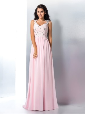 A-Line/Princess V-neck Sleeveless Sweep/Brush Train Chiffon Dresses with Applique