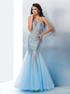 Trumpet/Mermaid Spaghetti Straps Sleeveless Floor-Length Organza Dresses with Sequin