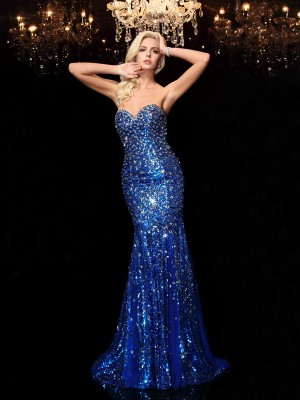 Trumpet/Mermaid Sweetheart Sleeveless Court Train Sequins Dresses with Sequin