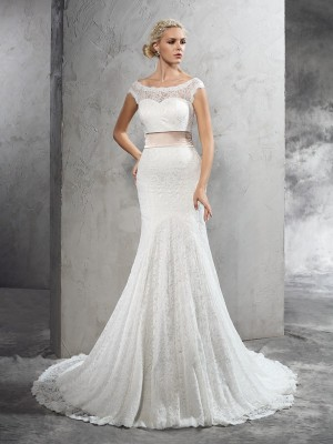 Sheath/Column Sheer Neck Sleeveless Court Train Lace Wedding Dresses with Sash/Ribbon/Belt