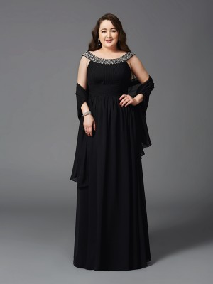A-Line/Princess Scoop Sleeveless Floor-Length Chiffon Dresses with Rhinestone