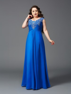 A-Line/Princess Straps Short Sleeves Floor-Length Chiffon Dresses with Beading