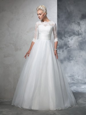 Ball Gown Jewel 3/4 Sleeves Floor-Length Organza Wedding Dresses with Applique