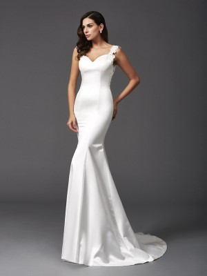 Trumpet/Mermaid Straps Sleeveless Sweep/Brush Train Satin Wedding Dresses with Beading
