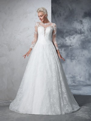 Ball Gown Jewel Long Sleeves Court Train Lace Wedding Dresses with Lace
