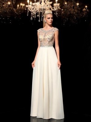 A-Line/Princess Sheer Neck Sleeveless Floor-Length Chiffon Dresses with Rhinestone