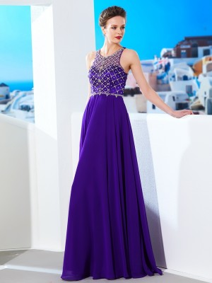 A-Line/Princess Scoop Sleeveless Floor-Length Chiffon Dresses with Crystal
