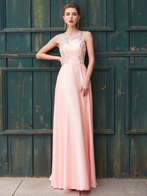 A-Line/Princess Scoop Sleeveless Floor-Length Satin Dresses with Beading