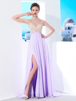 A-Line/Princess High Neck Sleeveless Sweep/Brush Train Chiffon Dresses with Crystal