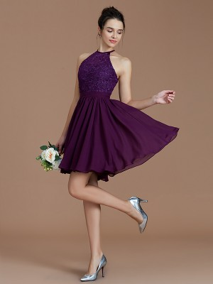 A-Line/Princess Halter Sleeveless Short/Mini Chiffon Bridesmaid Dresses with Lace