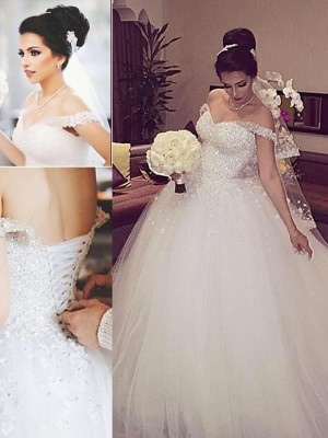 Ball Gown Off-the-Shoulder Sleeveless Court Train Tulle Wedding Dresses with Lace