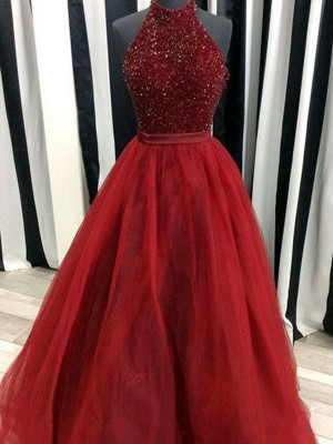 Ball Gown High Neck Sleeveless Floor-Length Organza Dresses with Beading