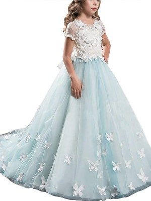 A-Line/Princess Scoop Short Sleeves Floor-Length Tulle Flower Girl Dresses with Lace