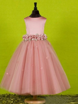 A-Line/Princess Scoop Sleeveless Ankle-Length Tulle Flower Girl Dresses with Bowknot