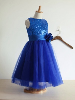 A-Line/Princess Jewel Sleeveless Ankle-Length Tulle Flower Girl Dresses with Hand-Made Flower