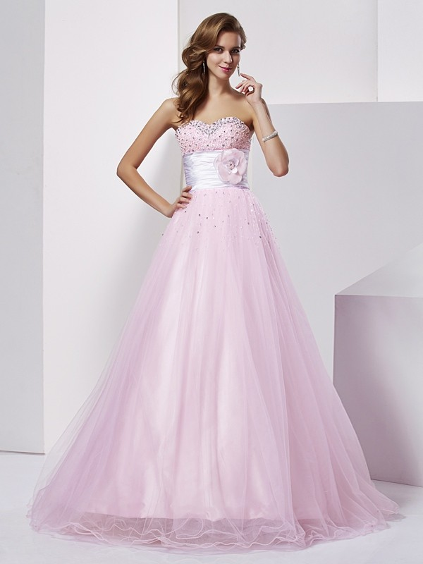 Ball Gown Strapless Sweetheart Sleeveless Floor-Length Elastic Woven Satin Dresses with Beading