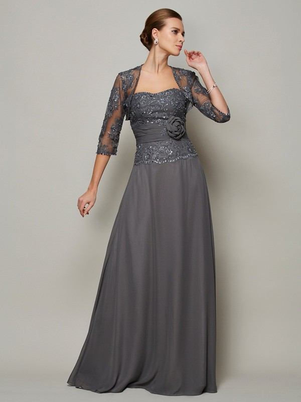 A-Line/Princess Sweetheart Sleeveless Floor-Length Chiffon Mother of the Bride Dresses with Applique