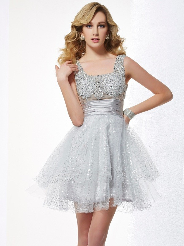 A-Line/Princess Straps Sleeveless Short/Mini Elastic Woven Satin Net Dresses with Beading