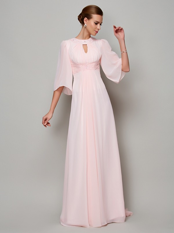 A-Line/Princess High Neck 1/2 Sleeves Sweep/Brush Train Chiffon Dresses with Beading