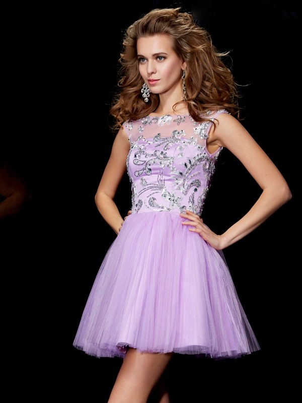 A-Line/Princess Bateau Short Sleeves Short/Mini Satin Dresses with Beading