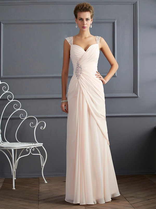 Sheath/Column Straps Sleeveless Floor-Length Chiffon Dresses with Beading