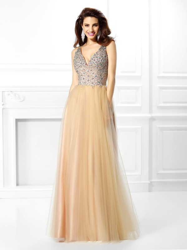 Ball Gown V-neck Sleeveless Floor-Length Satin Dresses with Beading Sequin