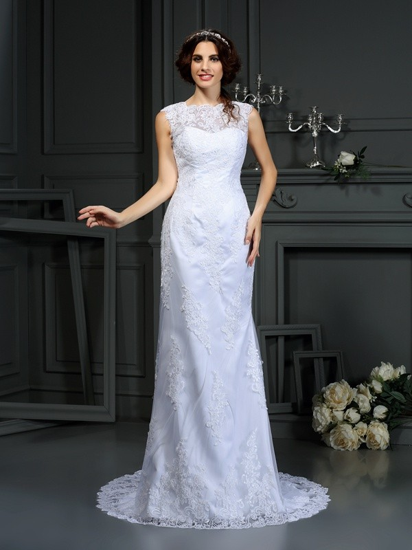 Sheath/Column High Neck Sleeveless Court Train Lace Wedding Dresses with Lace