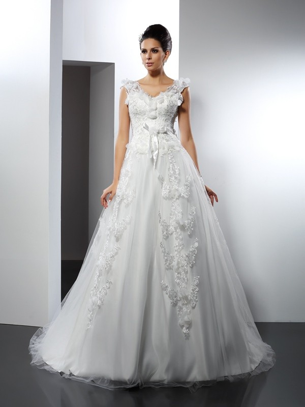 A-Line/Princess Straps Sleeveless Cathedral Train Satin Wedding Dresses with Lace
