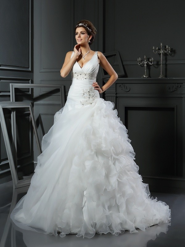 Ball Gown V-neck Sleeveless Court Train Organza Wedding Dresses with Ruffles