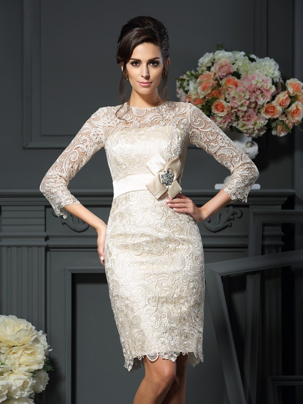 Sheath/Column Scoop 3/4 Sleeves Short/Mini Lace Mother of the Bride Dresses with Bowknot